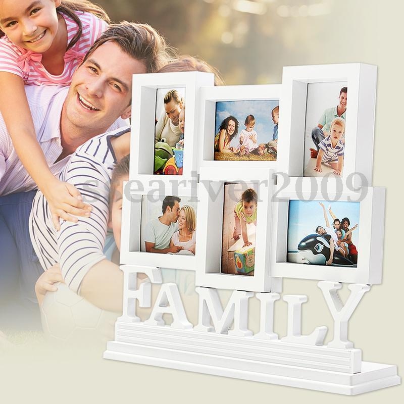 white plastic family photo frame wall hanging picture holder display home decor 988633584596 ebay. Black Bedroom Furniture Sets. Home Design Ideas