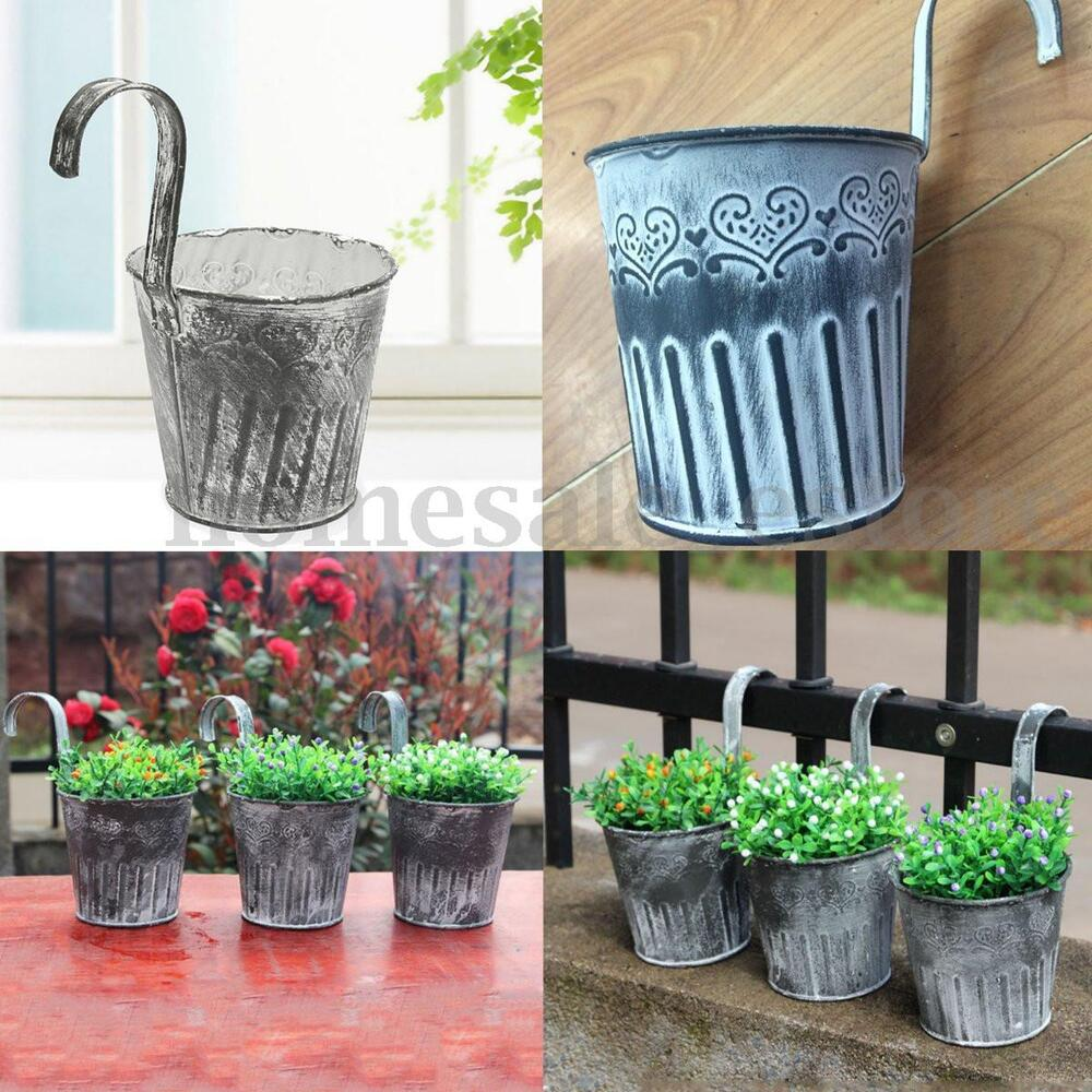 vintage metal hanging planter flower pot balcony garden. Black Bedroom Furniture Sets. Home Design Ideas