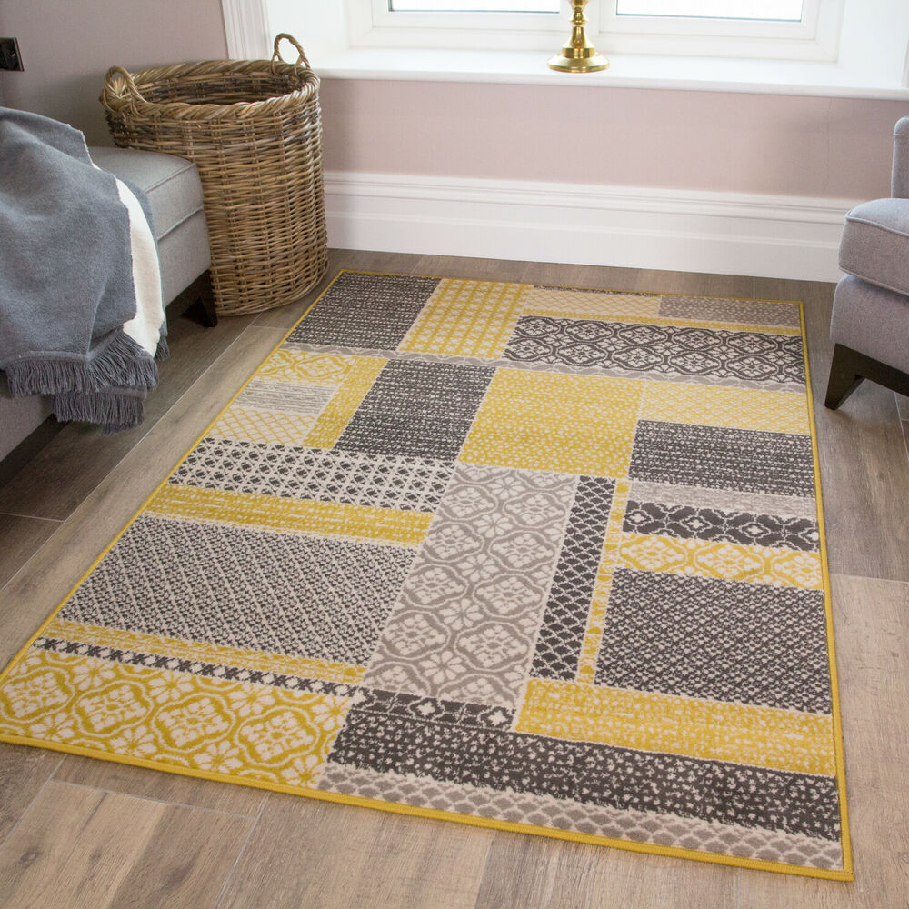 yellow gold patchwork squares pattern living room bedroom rug ebay