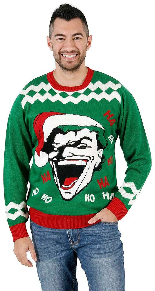 Dc Christmas Sweater.Adult Unisex Dc Comics The Joker Haha Hoho Ugly Christmas Knitted Sweater Ebay