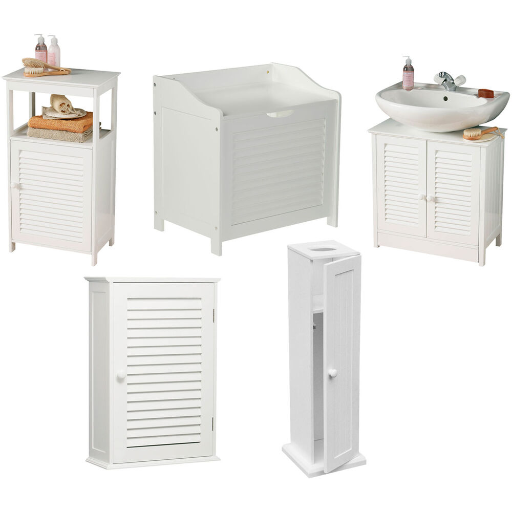 White Bathroom Furniture Storage Cupboard Cabinet Shelves: White Wood Bathroom Furniture Wall Shelves Under Sink