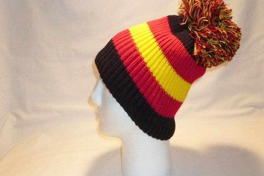 c7038007018 LUXURY RED YELLOW BLACK STRIPED BOBBLE HAT BEANIE FLEECE LINED MENS WOMENS  KIDS