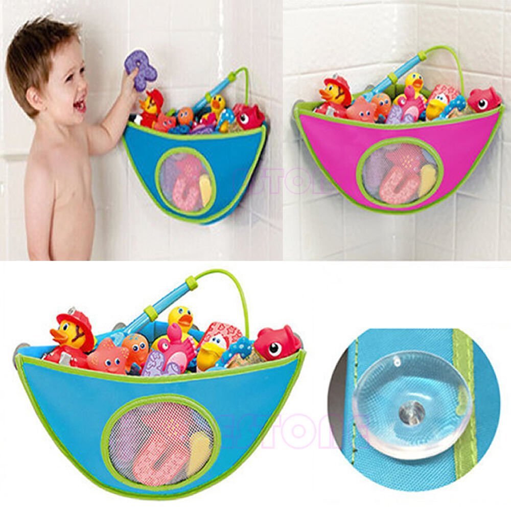 kids baby bath time toy tidy storage suction cup triangle bag organizer holder ebay. Black Bedroom Furniture Sets. Home Design Ideas