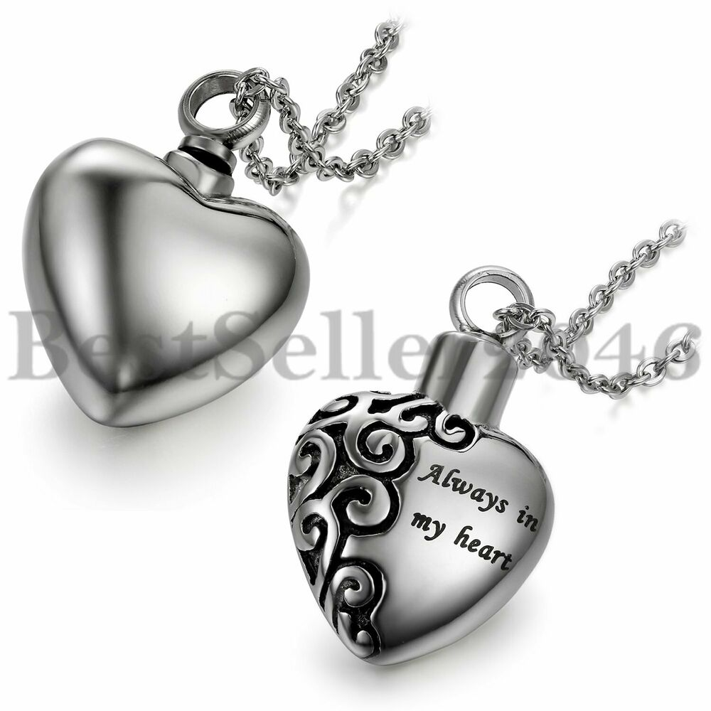 Details About Women Stainless Steel Heart Urn Cremation Jewelry Pendant Ash Holder Necklace