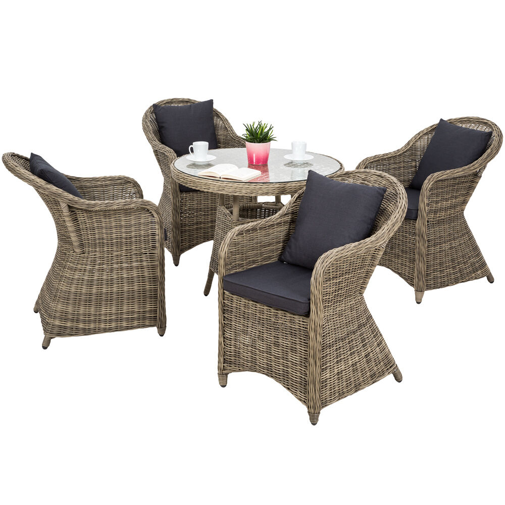 alu garten sitzgruppe 4x gartenstuhl 1x tisch set polyrattan gartenm bel stuhl ebay. Black Bedroom Furniture Sets. Home Design Ideas