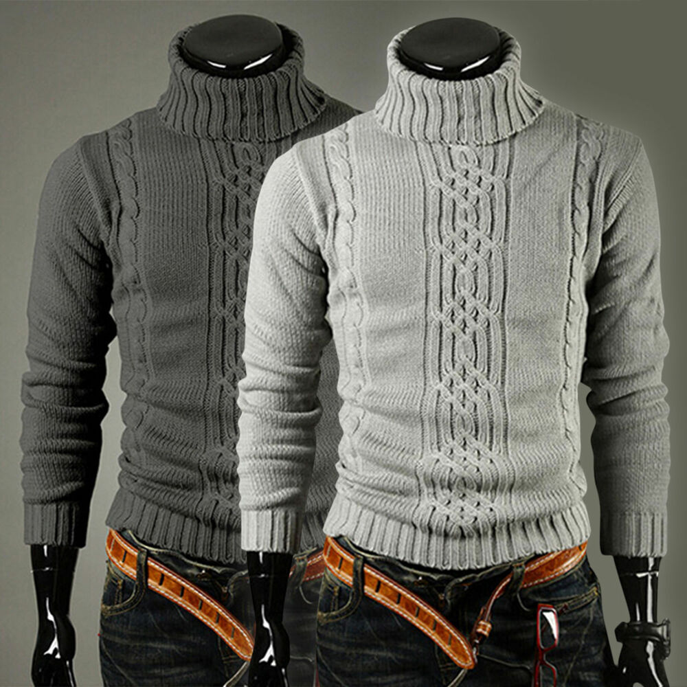 Men chunky polo roll turtle neck knitted pullover warm for Knitted polo shirt mens