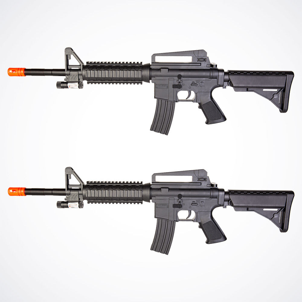 Lot of 2 Airsoft Guns M16 Rifle Spring Toy Gun Black Laser ... M16 Airsoft Gun