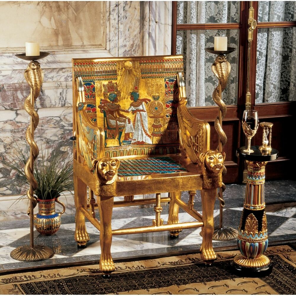 Exceptional Ancient Egyptian Full Size King Tut Throne Chair Replica Tutankhamen