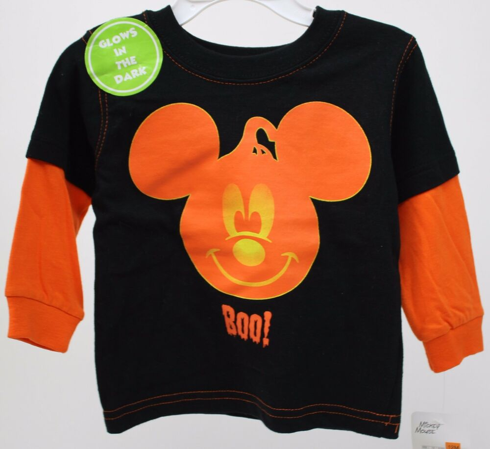 54d76ac76ce Details about Halloween Disney Mickey Mouse Boo Long Sleeve Glow in the Dark  Shirt Size 12 mos