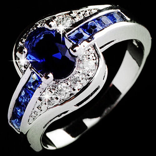 Elegant Blue Cubic Zirconia Ring Set