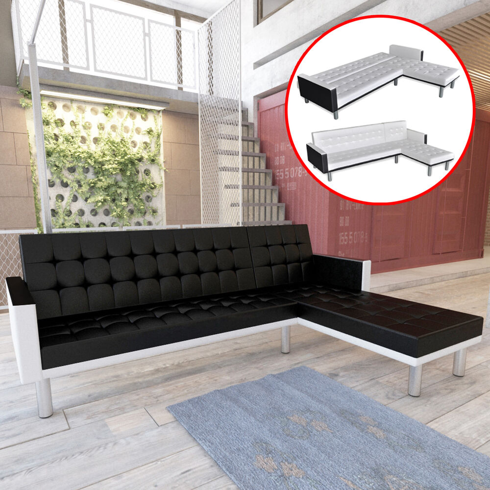 kunstleder sofabett sofa bett couch schlafsofa bettsofa schlafcouch couchbett ebay. Black Bedroom Furniture Sets. Home Design Ideas