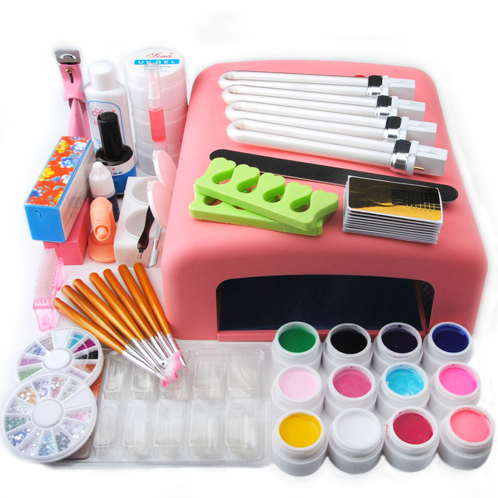 Nail art tools set 36w uv lamp dryer 12 color uv gel for Set painting techniques