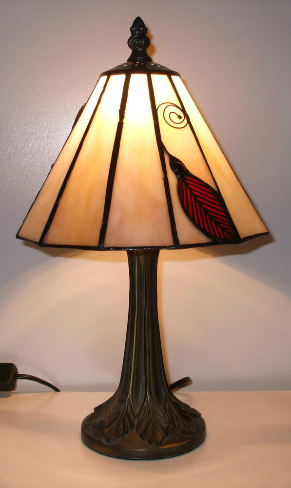 sale price tiffany stained glass table lamp small red. Black Bedroom Furniture Sets. Home Design Ideas