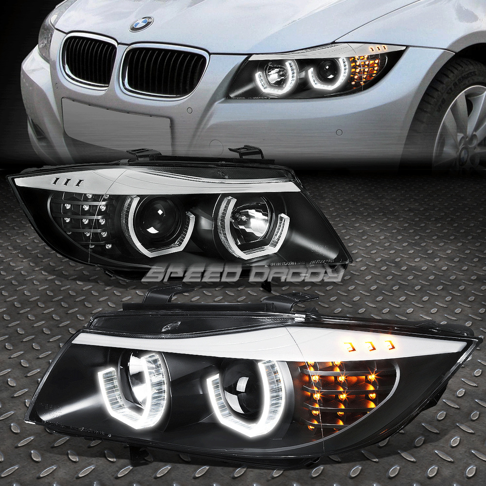 08: BLACK 3D CRYSTAL HALO PROJECTOR HEADLIGHT+LED CORNER FOR