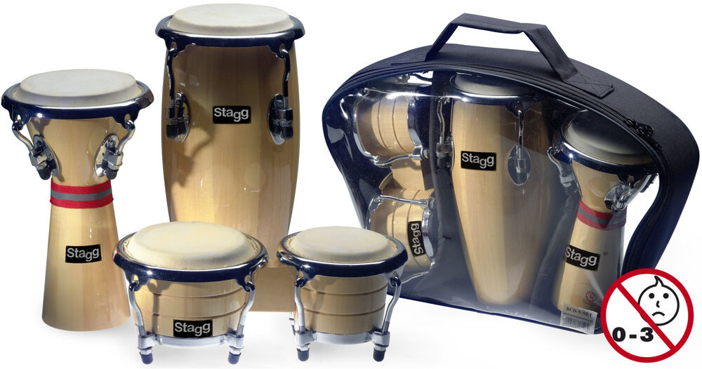 stagg mini latin african drum percussion package conga djembe bongo set 710552806509 ebay. Black Bedroom Furniture Sets. Home Design Ideas