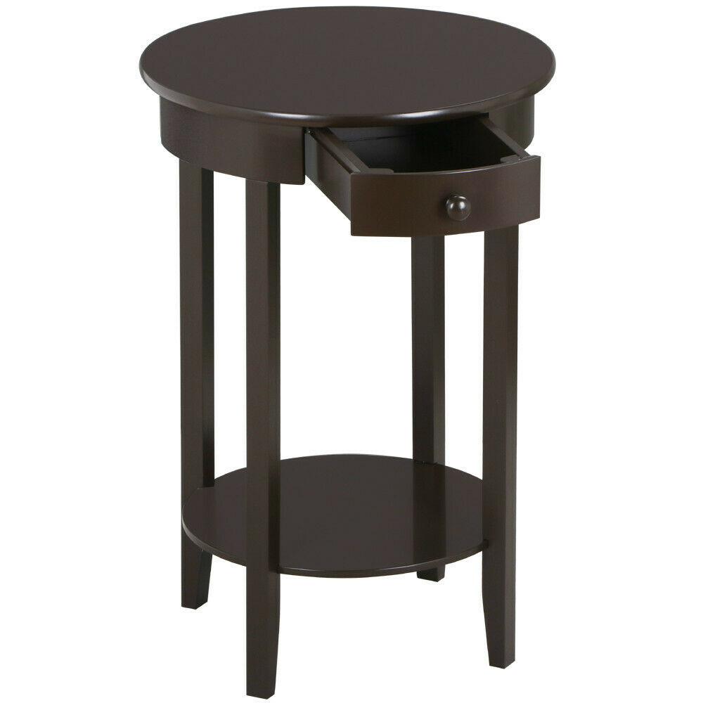 round pine wooden end table with drawer and shelf for home office espresso us 675500102389 ebay. Black Bedroom Furniture Sets. Home Design Ideas