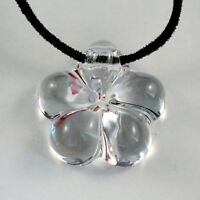 Authentic BACCARAT France Crystal Clear Lily Lili Flower Pendant Necklace W/ Box