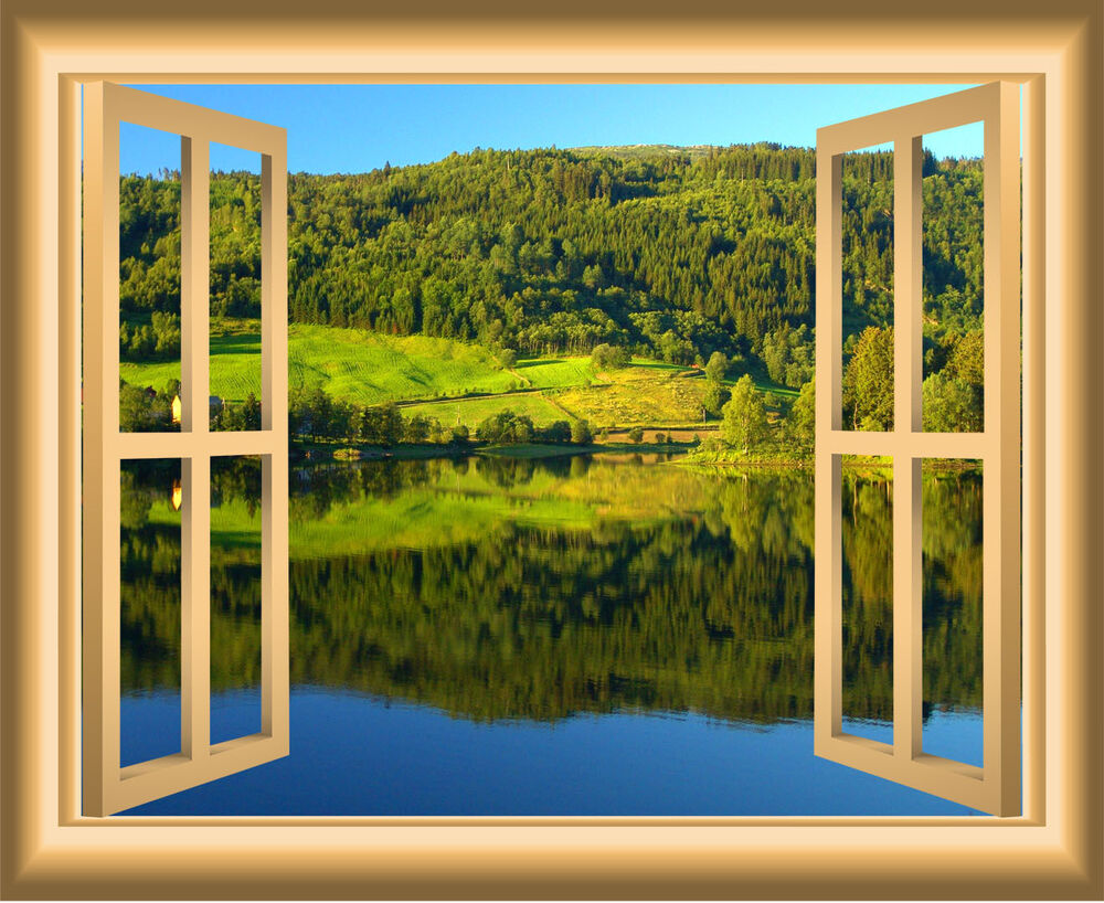 3D Lake Wall Decal Nature Window Sticker Peel And Stick ...