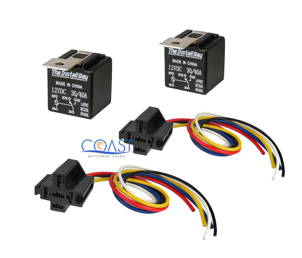 2x car audio bosche style relay with wire harness sockets. Black Bedroom Furniture Sets. Home Design Ideas
