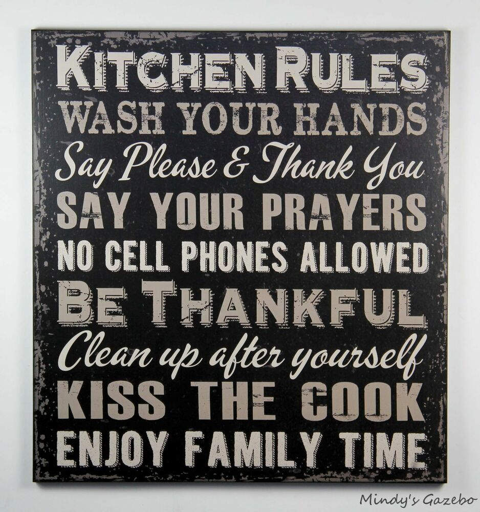 Primitive Wooden Kitchen Signs: PRIMITIVE COUNTRY BLACK WOOD KITCHEN RULES SIGN HANDMADE