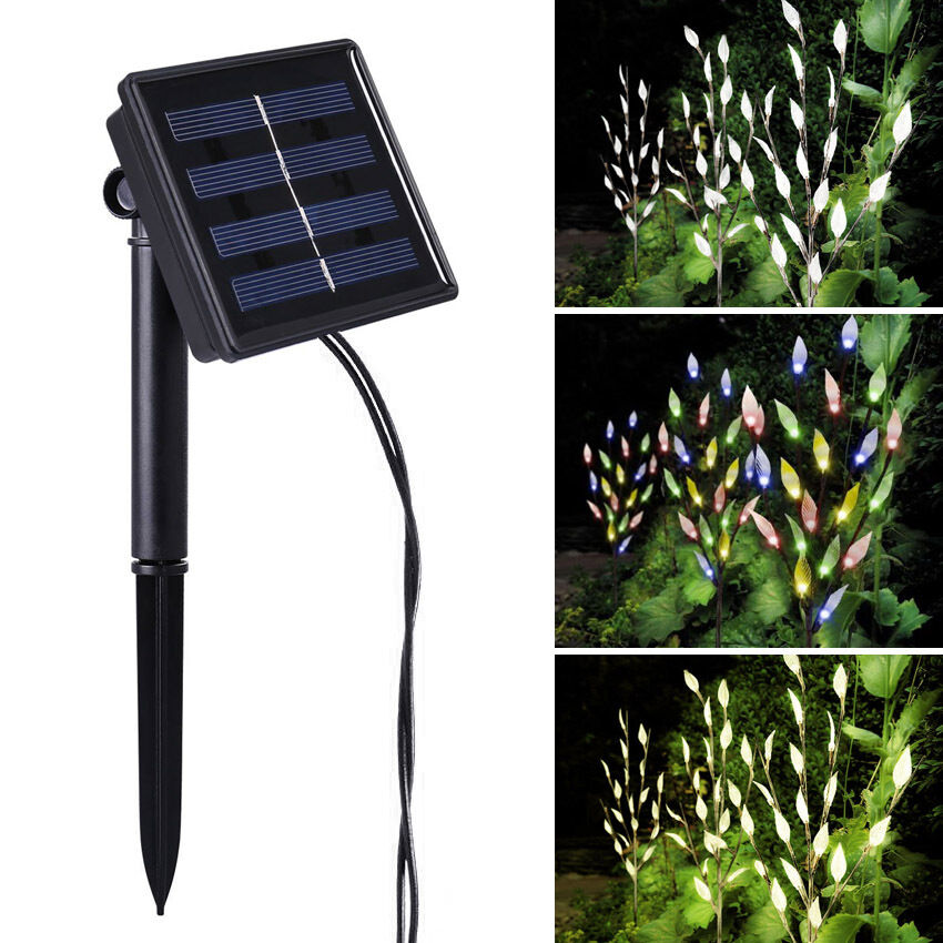 60 led 3pcs branches tree twig leaf solar power outdoor for Solar garden lights