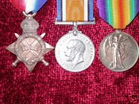 Medals WW1 1914-15 Star, British War & Victory Medals AGED Trio  copy replicas