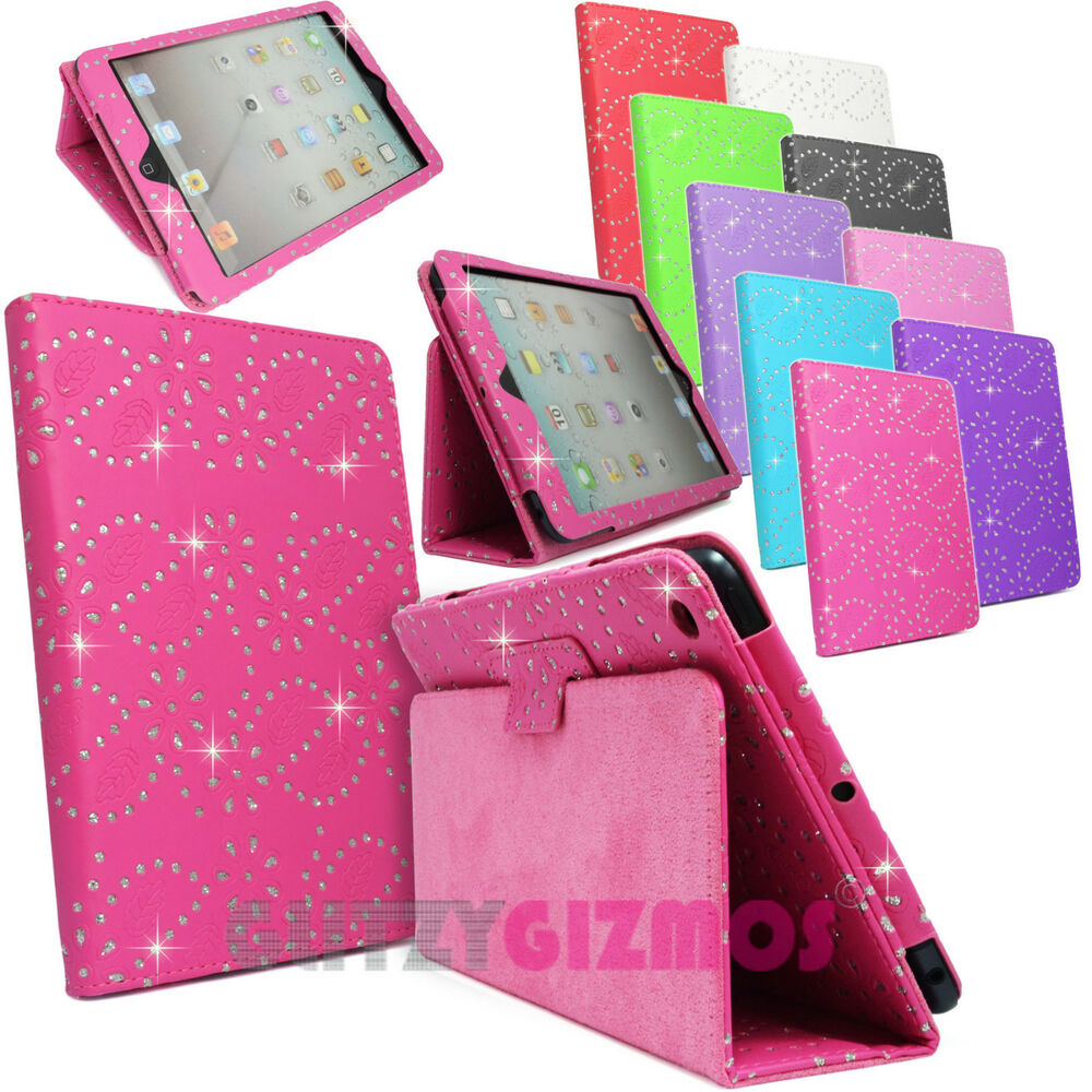 DIAMOND BLING SPARKLY LEATHER FLIP CASE COVER FOR APPLE