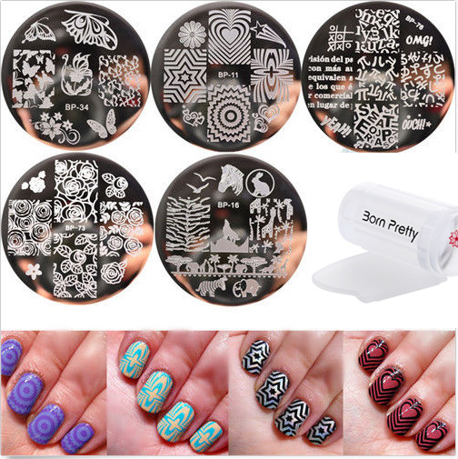 Nail Art Kit With Stamping: 6pcs/set Born Pretty Nail Art Stamping Plates & Silicone