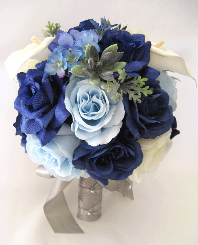 17 Pc Package Wedding Bouquets Bridal Silk Flowers NAVY