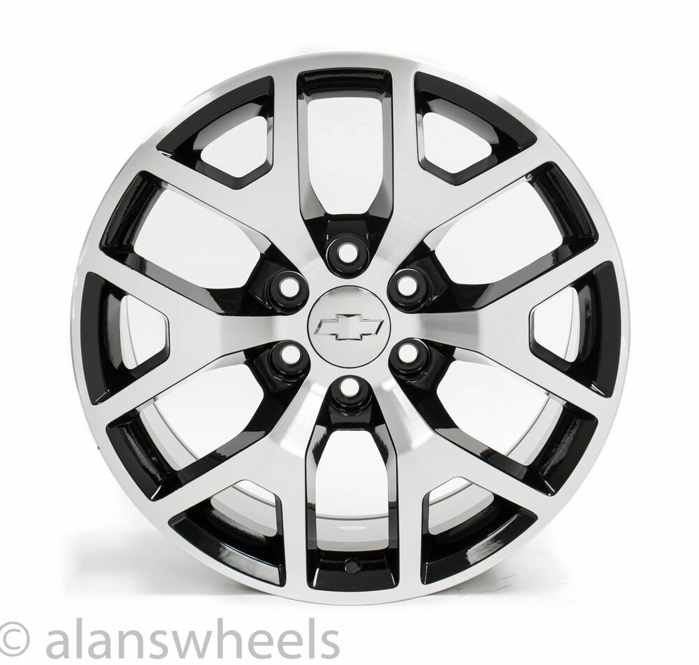 """Chevy Tahoe Accessories >> 4 NEW Chevy Suburban Tahoe Black Machined Face 20"""" Wheels Rims Lug Nuts 5656 