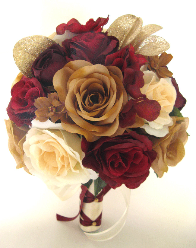 wedding bouquets with roses wedding bouquet 17 pc package bridal silk flowers burgundy 8543