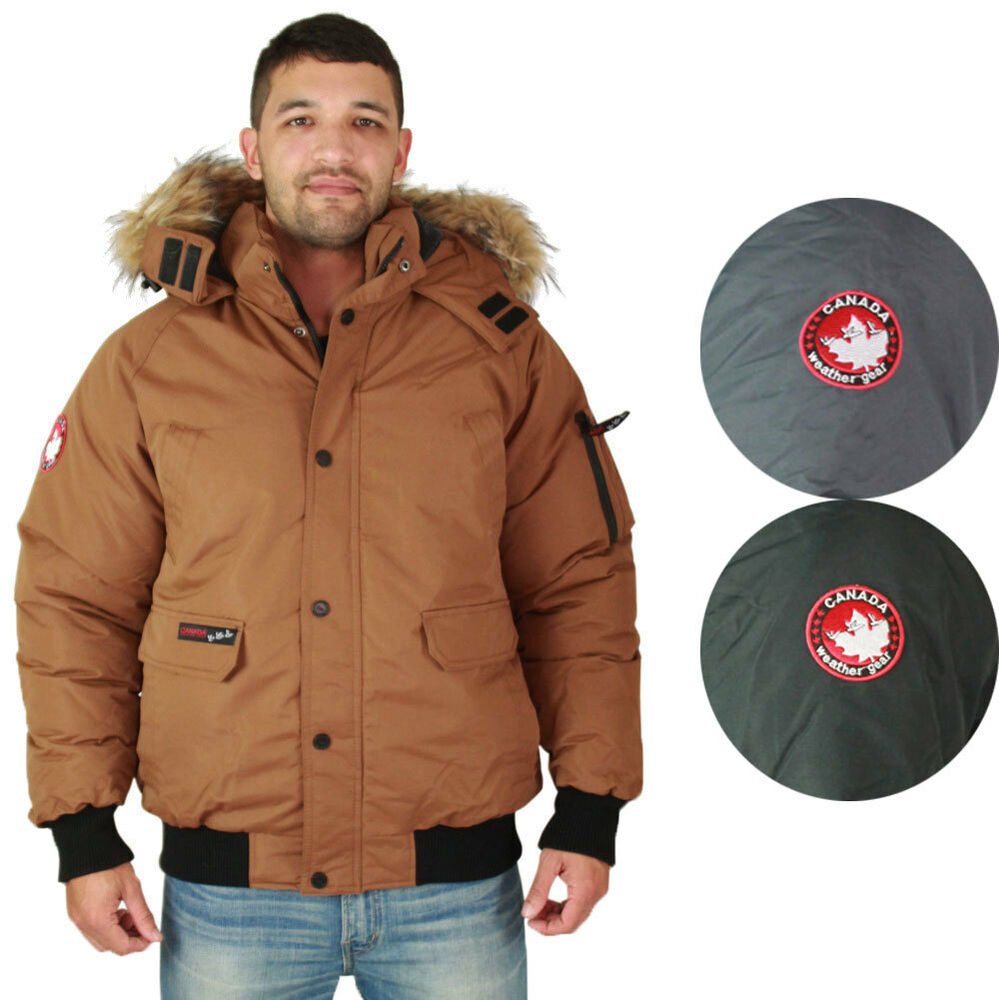 Canada Men S Sevens: Canada Weather Gear Men's Faux Goose Down Bomber Jacket