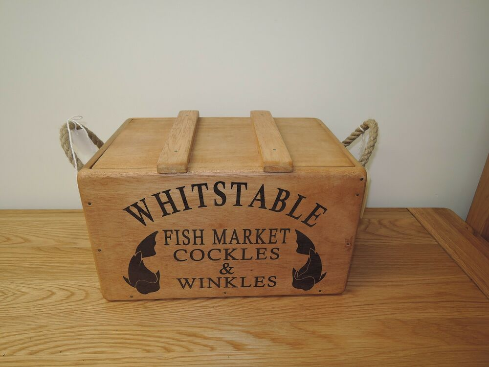 Decorative Storage Boxes Vintage : Whitstable fish vintage style rustic wood kitchen