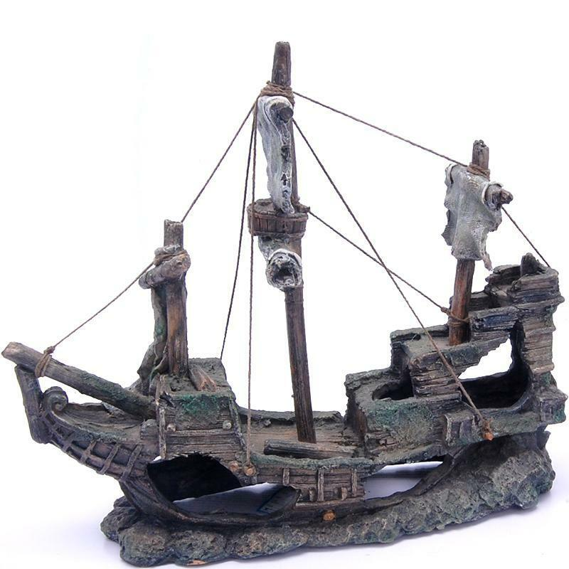Aquarium fish tank ornament pirate ship boat sunken for Fish tank pirate ship