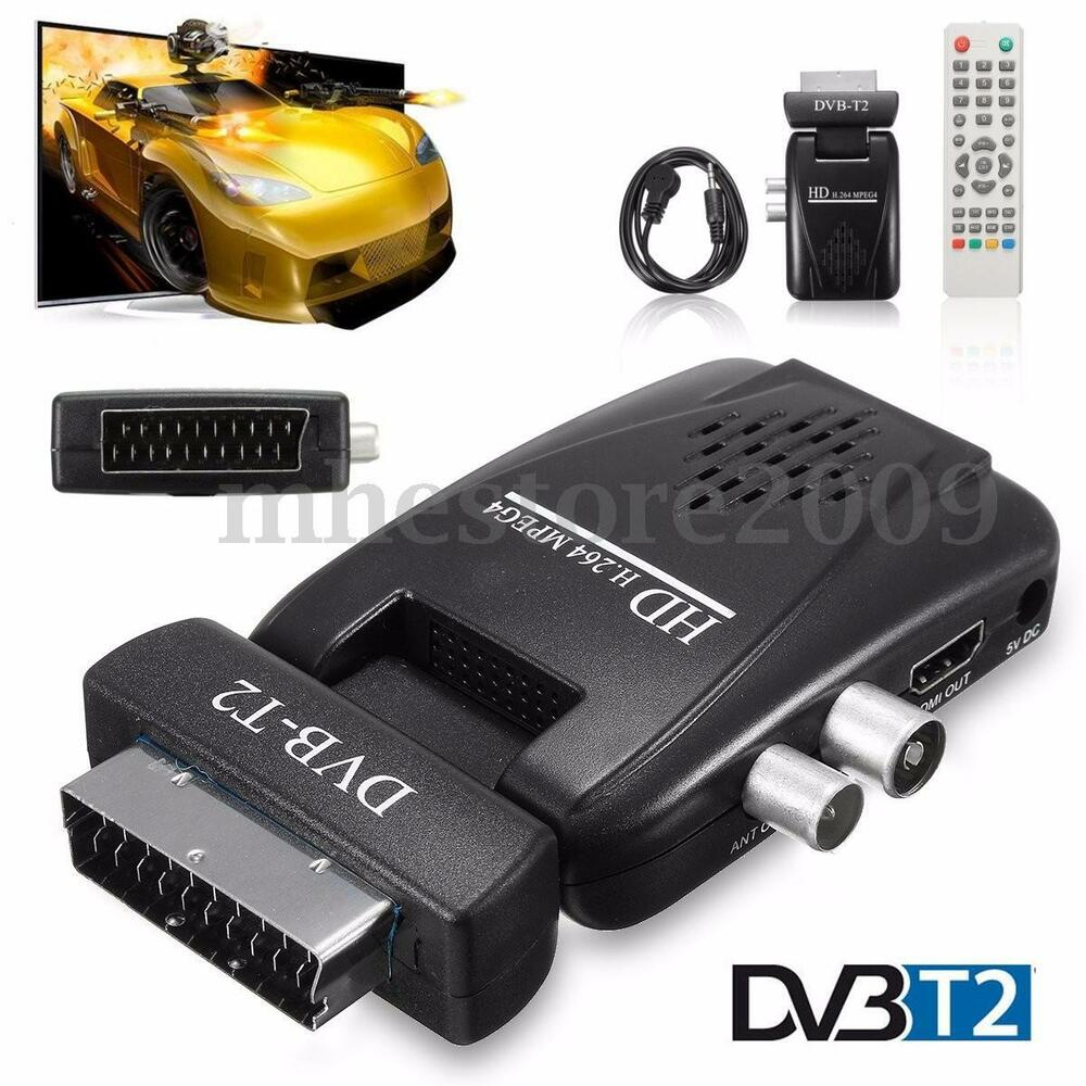 digital dvb t2 hd 1080p scart terrestrial receiver tv box usb sd hdmi ir ebay. Black Bedroom Furniture Sets. Home Design Ideas