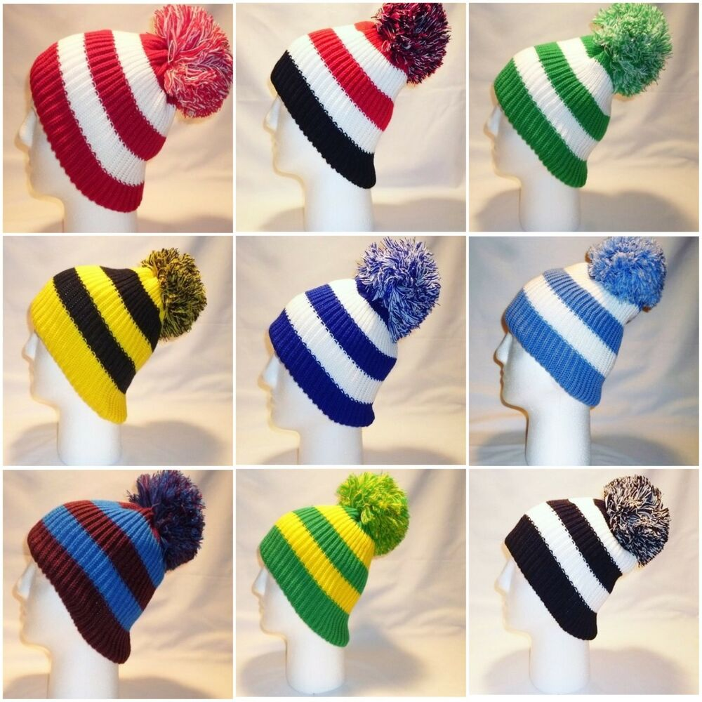 a0a8fdc7e40 Details about LUXURY BOBBLE HAT BEANIE POM MENS WOMENS KIDS RETRO FOOTBALL  SOCCER TEAM WINTER