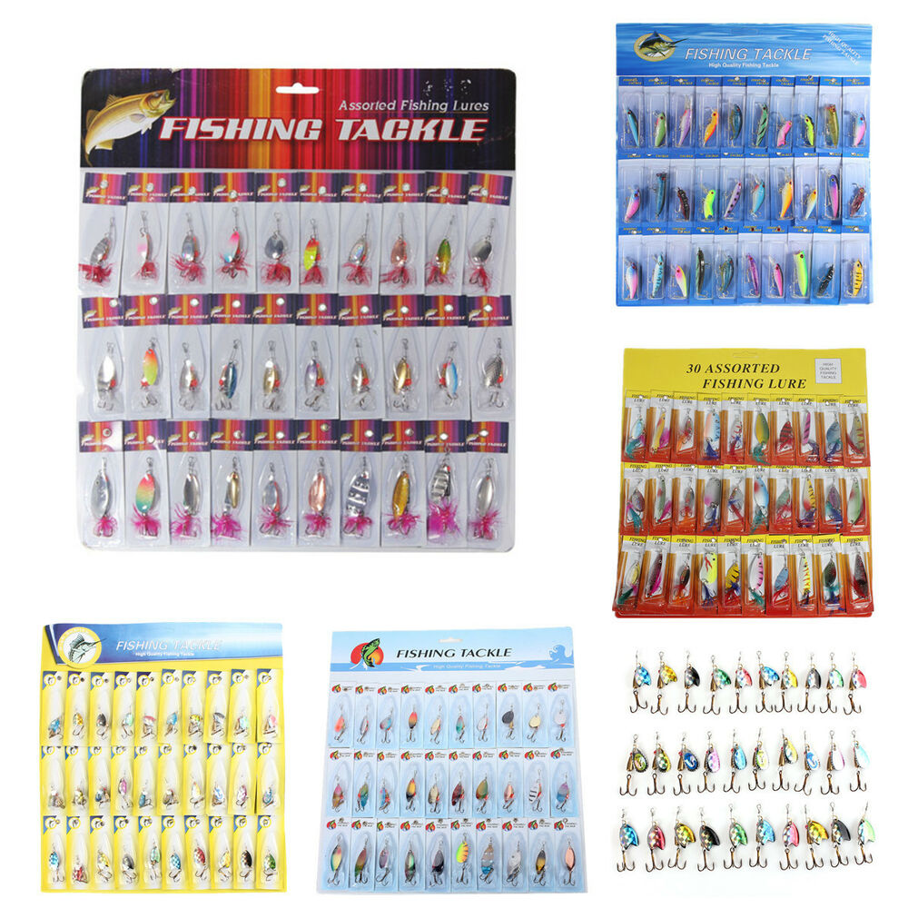 lot 30pcs assorted fishing lures spoon crankbait minnow spinner, Soft Baits