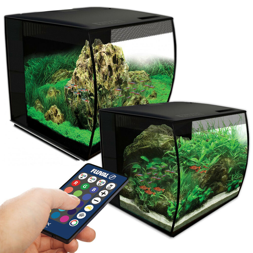 fluval flex led aquarium nano tank 34l 57l bowfront with integrated filter ebay. Black Bedroom Furniture Sets. Home Design Ideas
