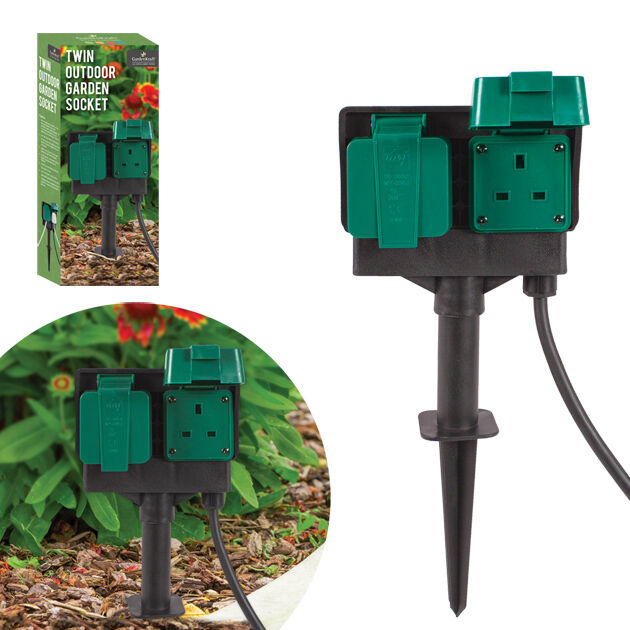 Double Socket Outdoor Garden Mains Plug Stake Kit