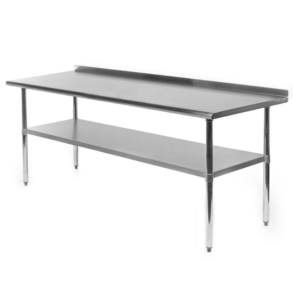 Commercial stainless steel kitchen prep work table with backsplash 30 x 72 ebay - Stainless kitchen tables ...