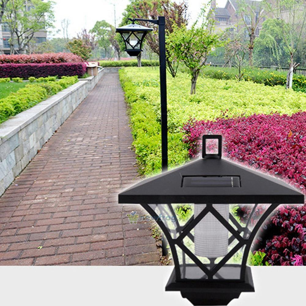 Black LED Solar Powered 5 Ft Traditional Garden Lamp Post