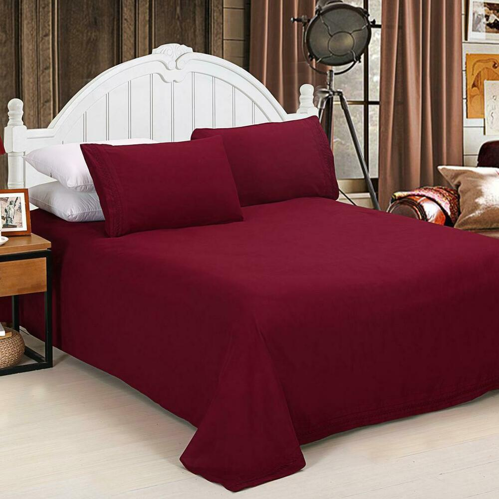 percale flat fitted sheet pillow case cotton blend bed bedding sets is6h ebay. Black Bedroom Furniture Sets. Home Design Ideas