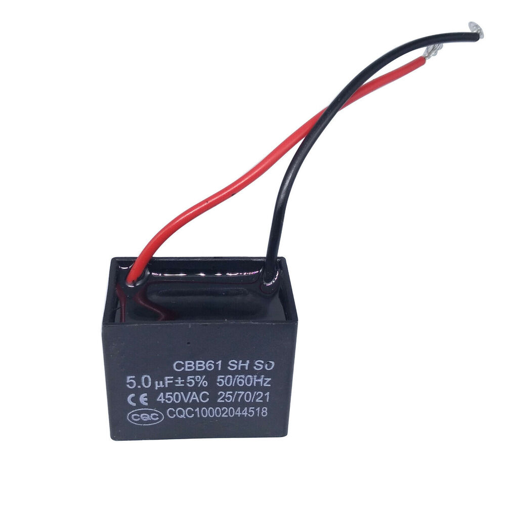 Us Stock Ceiling Fan Capacitor Cbb61 5uf 2 Wire Ebay