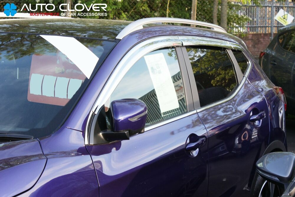 for nissan qashqai 2014 chrome wind deflectors set 6 pieces ebay. Black Bedroom Furniture Sets. Home Design Ideas