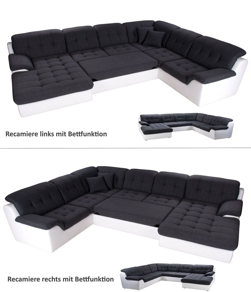 wohnlandschaft mit bettfunktion in kunstleder weiss grau woody 90 00178 ebay. Black Bedroom Furniture Sets. Home Design Ideas