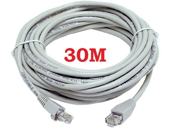 30m cat5e rj45 ethernet lan network patch lead cable ebay. Black Bedroom Furniture Sets. Home Design Ideas
