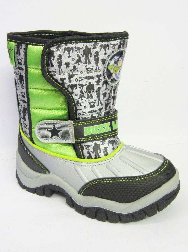 Toy Story Boots For Boys : Buzz lightyear boys silver green black snow boots ebay