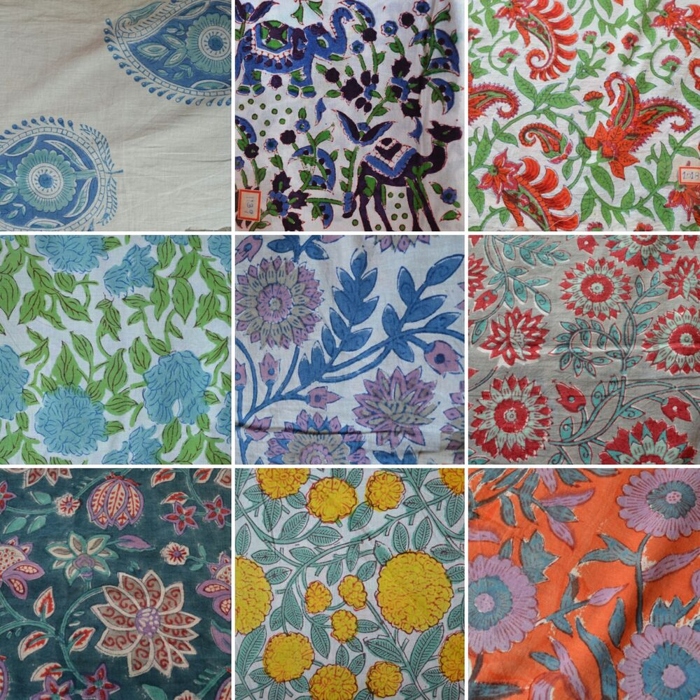 Indian hand block print cotton fabric natural printed for Printed cotton fabric