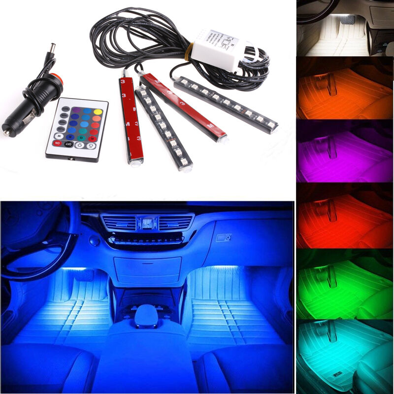 4pc 9led remote control colorful rgb car interior floor - Illegal to have interior car lights on ...