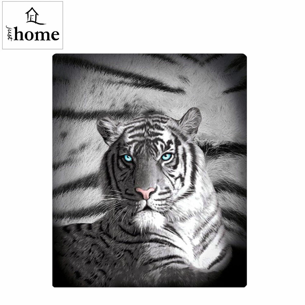 Blue Eyes Stripes Tiger Polar Fleece Throw Blanket Rug By